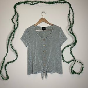 W5 Anthropologie Ribbed Striped Button Tee Shirt